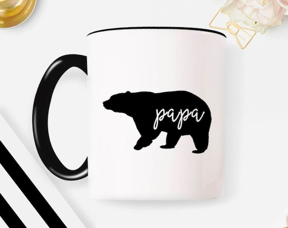 Papa Bear papa mug papa bear mug Papa bear established Father's Day gift Father's Day New dad coffee mug mug coffee cup 34MM