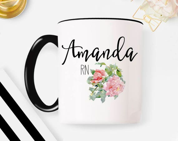 Nurse RN Mug, Custom RN Mug, Gifts For Nurse, Nurse Grad, Nurse Coffee Mug Nurse, Nurse Graduation Gift Floral Watercolor Name Nurse Mug 49G