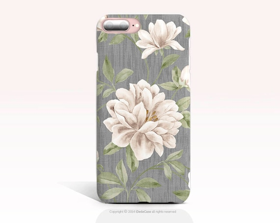 iPhone XS Max Case iPhone XR Case TOUGH iPhone 8 Plus Case Vintage Samsung Galaxy S9 Plus Case, iPhone 7 Case, iPhone 8 Case Floral Gray