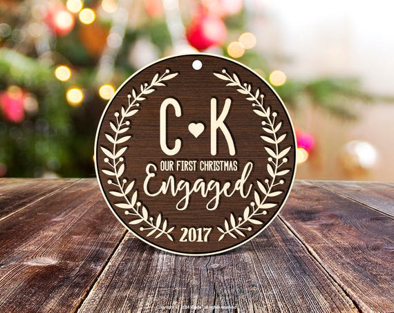 Personalized gift Our First Engaged Christmas Ornament Personalized Wood Ornament Gift for Her, Engagement Gift Wedding Marriage 18