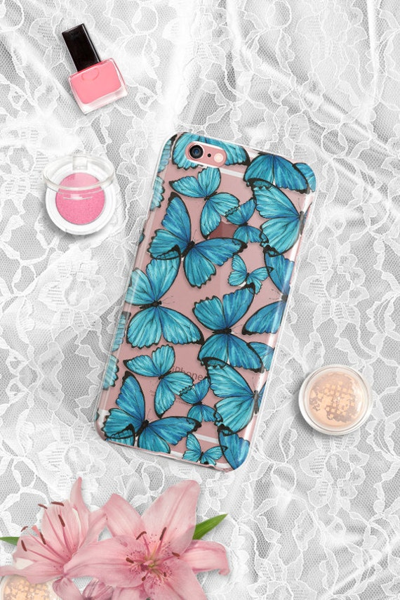 iPhone 7 Floral Clear Case Butterfly iPhone 7 Plus Clear Rubber Case iPhone 6 Clear Case iPhone 6S Case iPhone SE Case Samsung S7 Edge Case