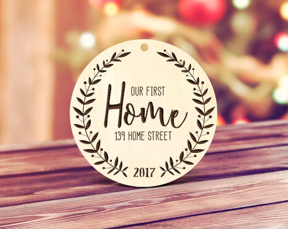 Our first Home Ornament, Wood Our First Home Christmas Ornament New House Gift, Housewarming Present Rustic Our First Home Ornament  11
