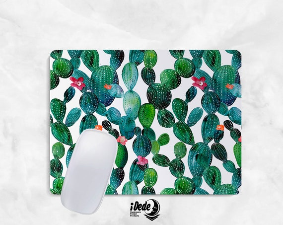Watercolor Mousepad cactus mouse pad Round or Rectangle Mouse pad Beautiful Design Floral Mouse pad Cute gift Mousepad 36