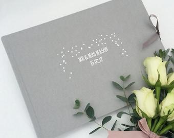 Personalised Grey Wedding Guest Book