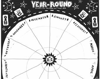 Perpetual Calendar-PDF DOWNLOAD, printable, black & white