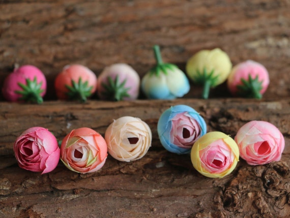 10pcs 25cm cabbage rose buds in pink blue yellow artificial etsy image 0 mightylinksfo