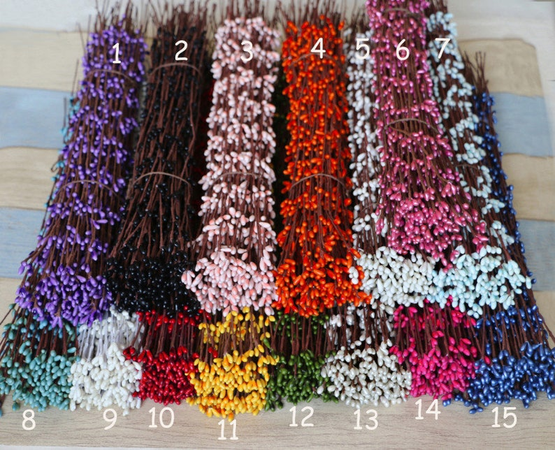 10pcs Free Bending Pip Berry Stem Branch for Floral Arrangemanet Wedding Crafts Garland Decoration Bridal Hair Vine Flower Crown Accessories