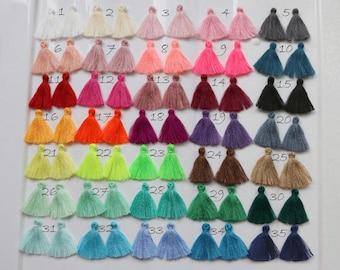 """10pcs- 68 Colors Tassel - 1.1"""" Mini Jewelry Tassels, Cotton Tassels, Bracelet Tassels, Handmade,  Summer Fashion Trend,Tassels Trim Fringe"""