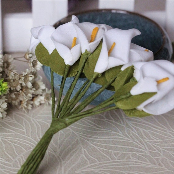 Bunch of 12-White Calla Miniature Flowers,Foam Flowers,Miniature Lilies,Wedding Flower,Wedding Floral Findings Boutonniere Pink Flowers
