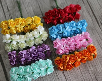 Bunch of 12-Mulberry Scrapbooking Tiny Paper Rose Flower for Crafting, Wedding Decoration,Hair Accessories,Flower Crown,Party Favors Decor