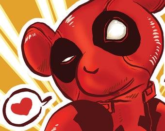 Deadpool Comic Book Teddy Bear Print 4x6 and 8x10
