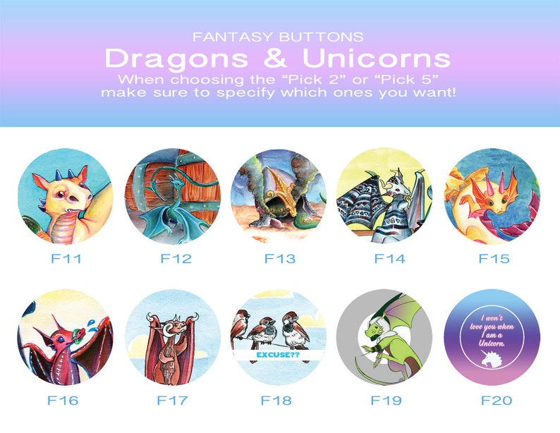 Buttons Fantast SET 2: Dragons and Unicorn, Oh My!