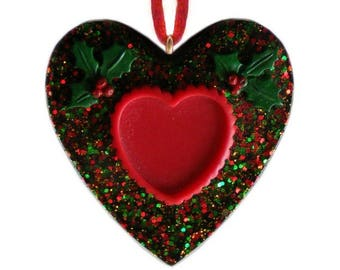 Heart frame on a Heart Christmas ornament ~ Hand Crafted Christmas Ornaments