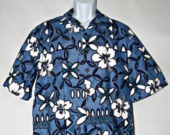 Hilo Hattie Hawaiian Shirt, Aloha Shirt, Blue, Floral, Cotton, Made in USA, Men's Size Large, Casual Shirt, Beach, Surfer, Tropical, Kitsch