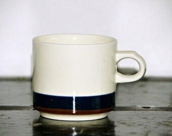 International Stoneware Mug, Small, Made in Japan, Blue, Brown, Stripe, Beige Background, 1970s, Modern, Minimalist, Coffee, Tea, Hot Cocoa