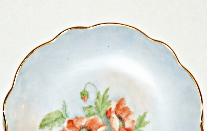 Red Poppy Bread Plate Blue Background Garden Party Hand Painted 6 Inch Gilded Trim Scalloped Rim Soft Floral Bohemian Porcelain