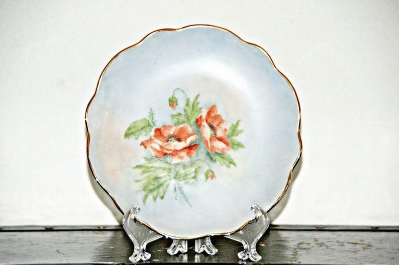 Gilded Rim Orange Floral Flowers 1920s 6 Inch 1900s Pale Blue Trim Antique Imperial Austria PSL Empire II Bread Plate Art Nouveau