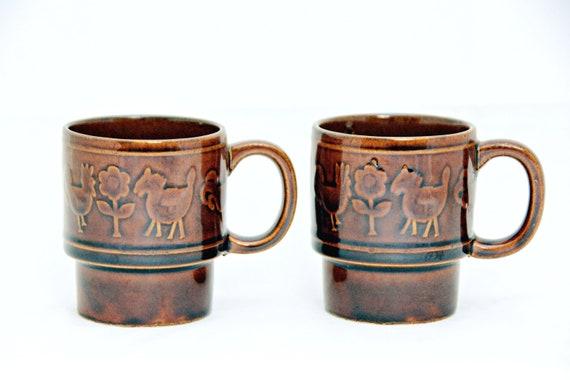 40c9362cd09 Farm Animals Stacking Mug Set of 2 Floral Brown C Handle | Etsy