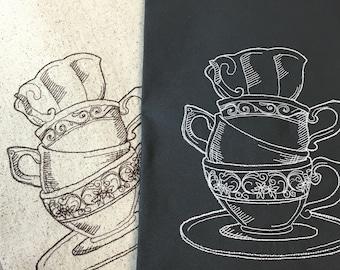 Stacked Teacup Tea Towel