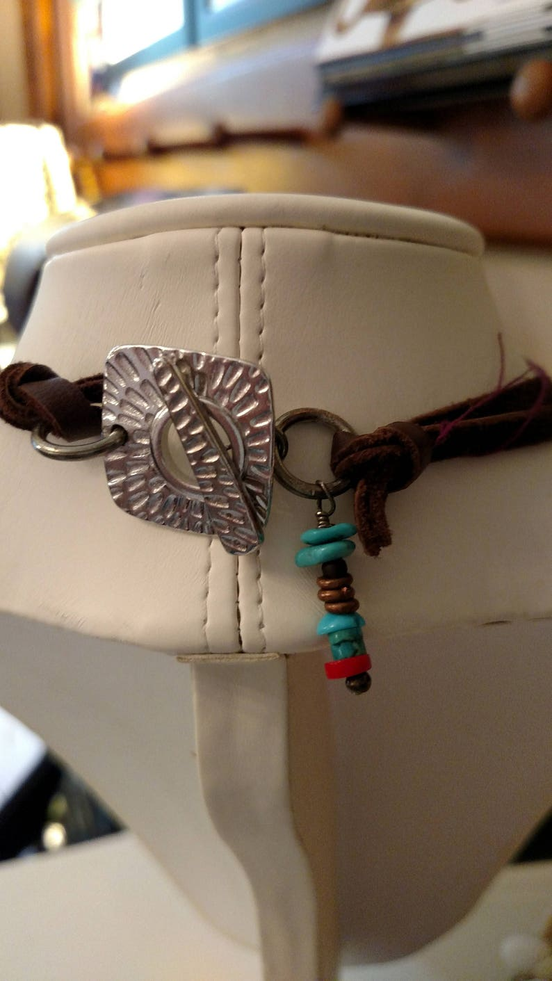 Leather Necklace with Silver Pendant