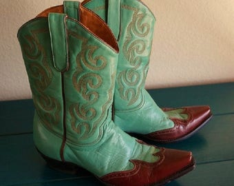 Vintage Old Gringo Turquoise Cowgirl Boots, Turquoise Leather with Brown Wingtips, Women's size 7.5