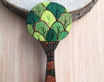 Tree brooch Wooden brooch Hand painted brooch Laser cut brooch Nature wood jewelry