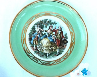 Hyalyn Porcelain Colonial Couple Plate (s) with Gold Trim Collectible Home Decor  sc 1 st  Etsy & Hyalyn porcelain   Etsy