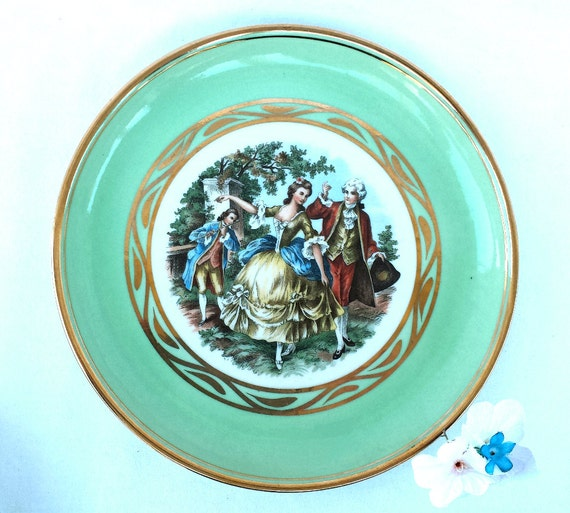 sc 1 st  Etsy & Hyalyn Porcelain Colonial Couple Plate s with Gold Trim