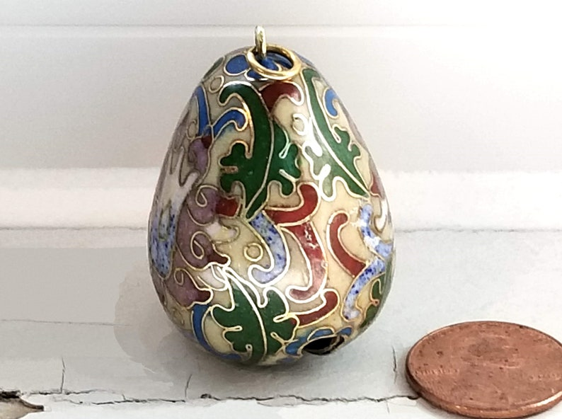 Blue Green Pink Red Ecru Egg-Shaped Vintage Charm Cloisonn\u00e9 Bell Pendant