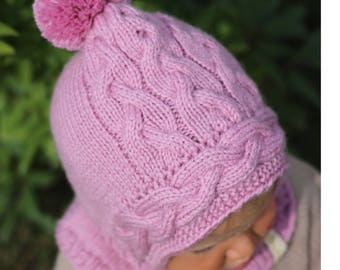 Hand knit baby pixie hat with collar hood scarf winter hat  90a515e7b283