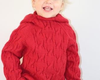 Hand knit seamless wool sweater with hood, cardigan for baby. Baby boy sweater. Wool baby jacket. Knit baby sweater. Sweater for baby