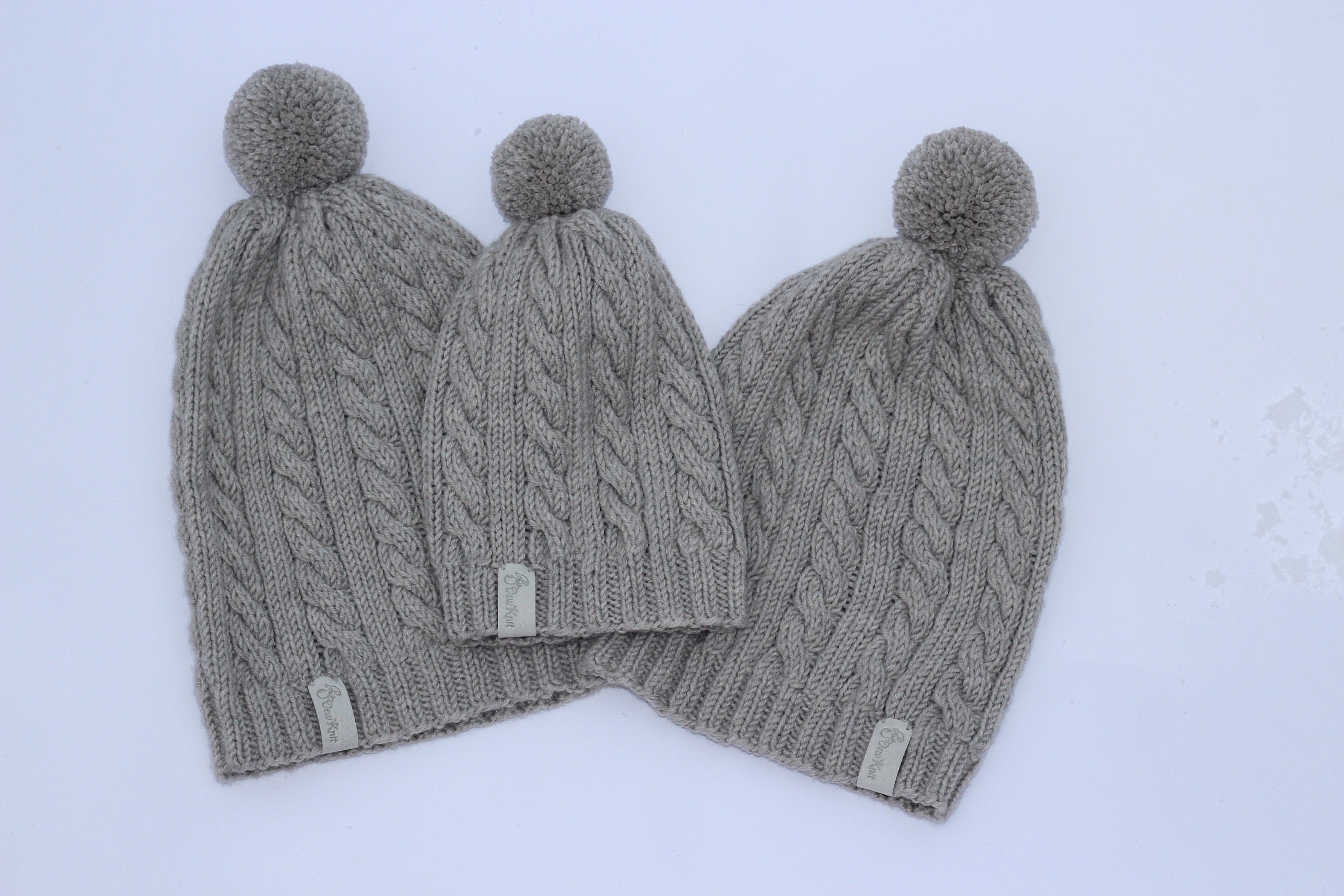 1fde37b64 Knit matching hats, knit baby hat, matching outfit, daddy and me hats,  mother daughter hats, bobble hats, baby winter hat, family look