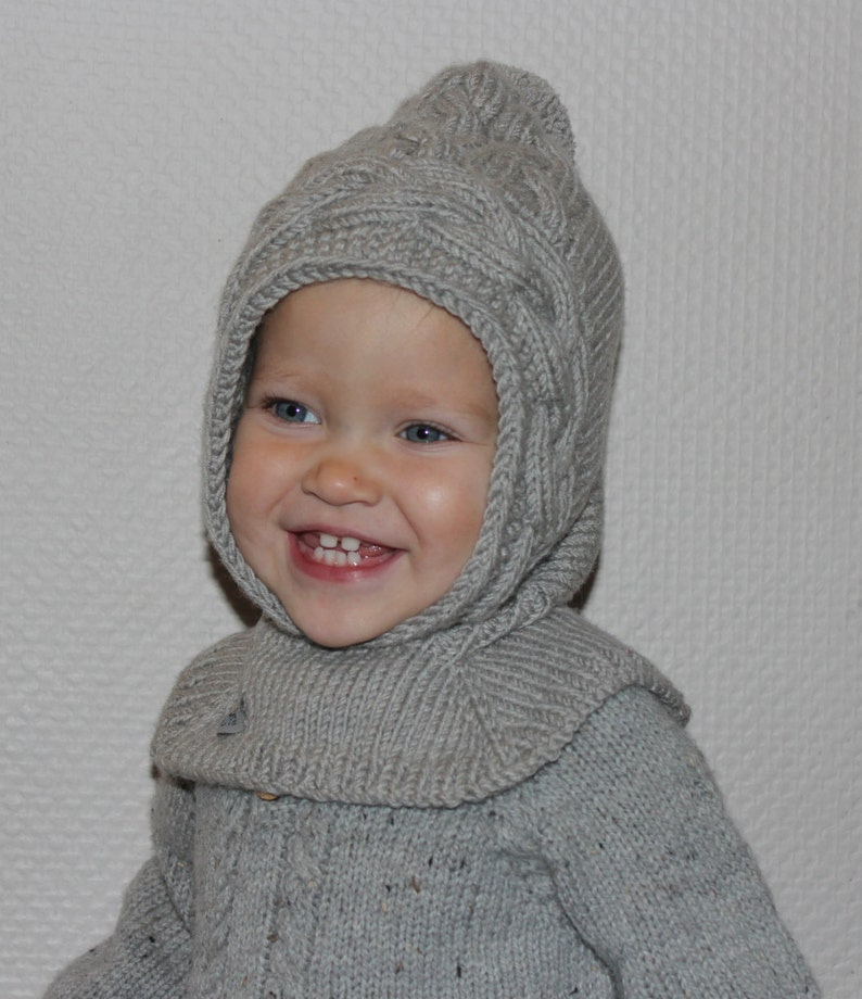 Hand knit baby pixie hat with collar hood scarf winter hat  f00130edf57