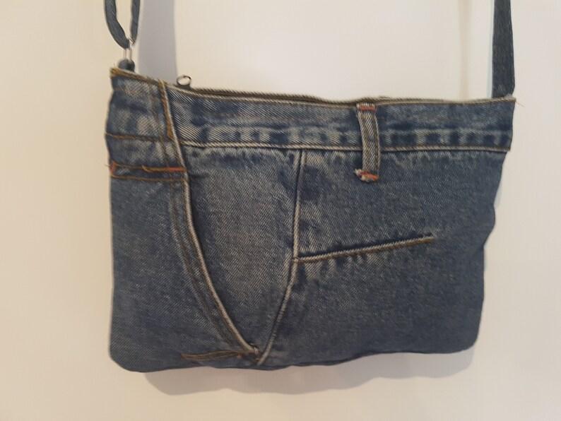 Jeans bag shoulder bag shoulder bag handmade hand-stitched image 0
