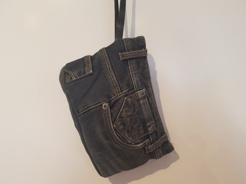 Jeans bag cosmetic bag handmade hand-stitched image 0