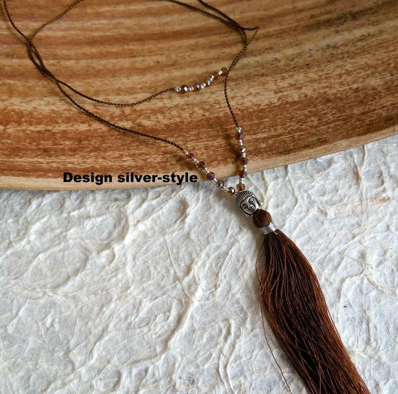 Buddha necklace Crystal Buddha Brown image 0