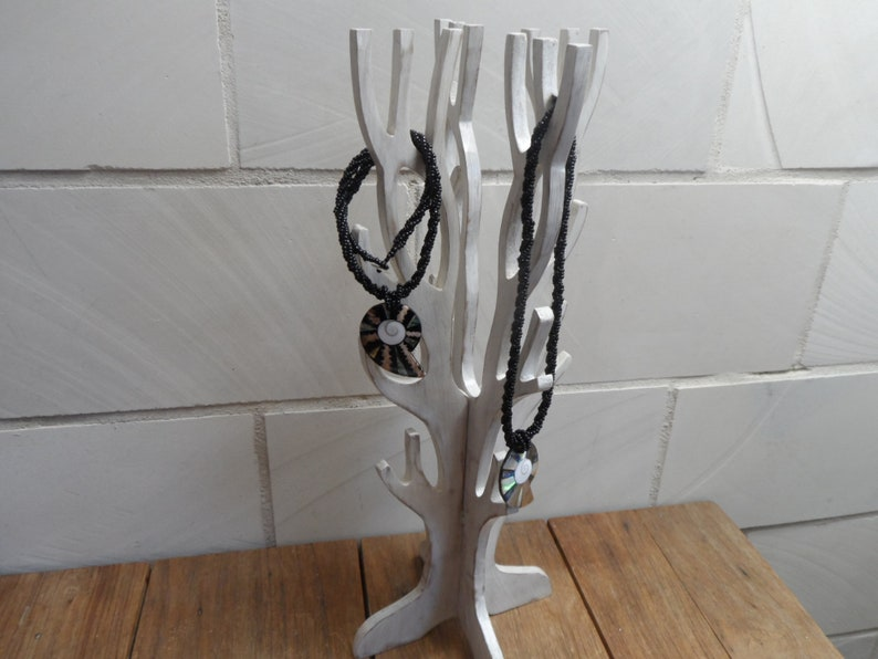 Jewelry tree chain stand antique white earring stand image 0