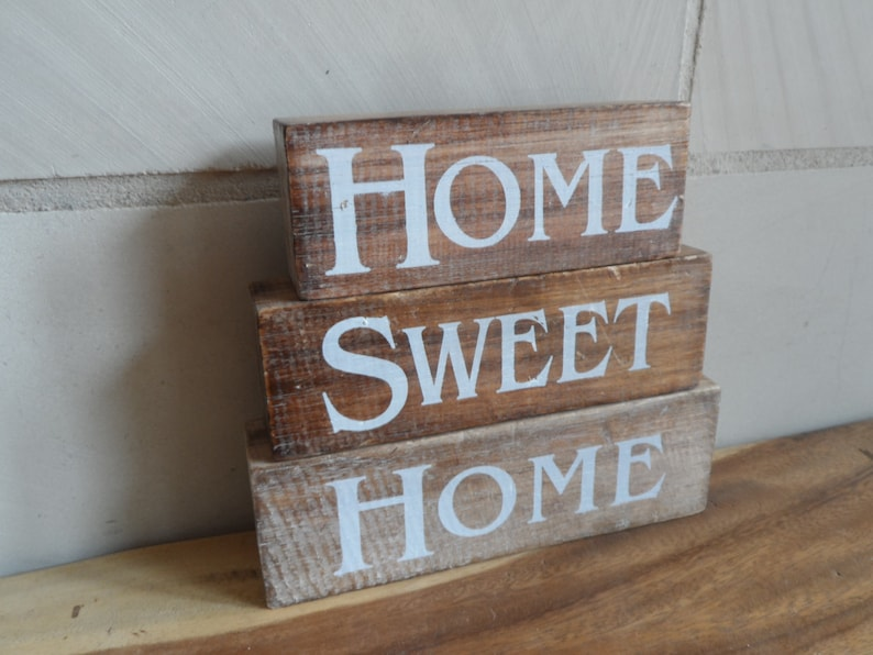 3-set lettering Home Sweet Home Live Laught Love Wood image 0