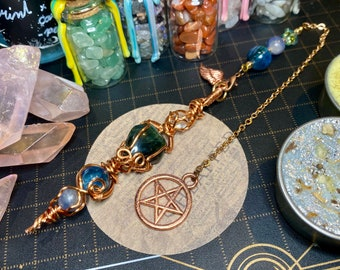 ONLY ONE Wire Wrapped Green Sapphire, Kyanite Beads, Blue Sapphire  Beads Pendulum - Divination Tool