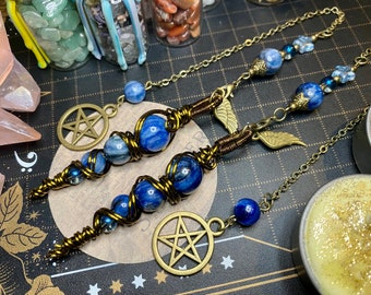ONLY ONE Wire Wrapped Kyanite Beads Pendulum - Divination Tool