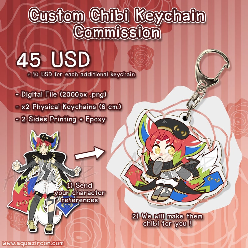 Custom Chibi Acrylic Keychain Commission  Choose Your Own image 0