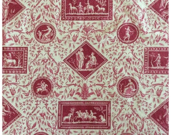 French Toile de Jouy Neoclassical Red on Rich Cream Polished Cotton