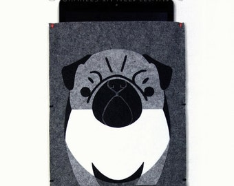 Pug iPad Air Case, iPad Air 2 Case, iPad Air sleeve, iPad Air 2 sleeve, dog lover gift