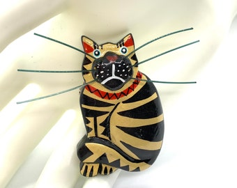 Gorgeous Handmade Painted Wooden Gold and Black Cat with HUGE Black Whiskas Vintage Brooch - Circa 1980's