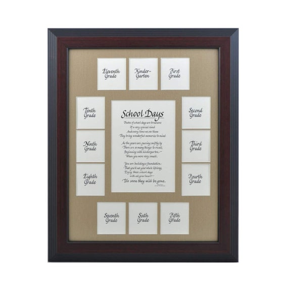 11x14 School Days K 12 Wood Picture Frame 13 Openings Cherry Etsy
