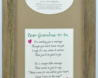 Grandma to Be Ultrasound Frame 7x14 Grandmother Gift Sonogram Picture - several mat and frame options