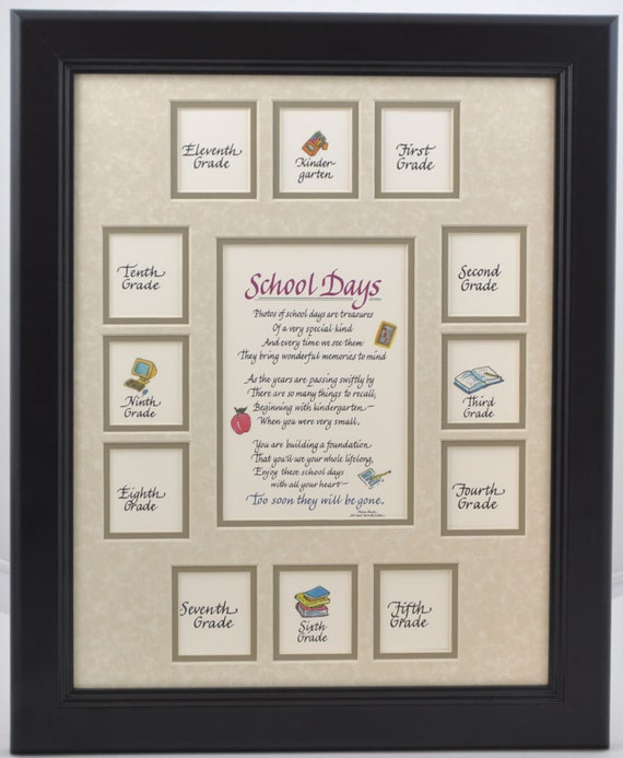 11x14 School Days K 12 Wood Picture Frame 13 Openings Black Etsy