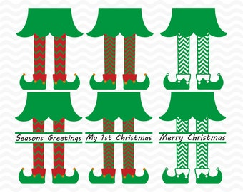 Elf legs svg, split monogram designs, SVG, DXF, EPS, use with Silhouette and Cricut Explore. Christmas svg files, Christmas cutting files.