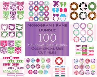 Monogram Frame Bundle,  svg bundle. Circle Monogram svg files, svg Designs, SVG, DXF, EPS,  use with, Silhouette & Cricut Explore Machines.