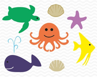 Nautical Sea Creatures set, SVG, DXF, EPS, Octopus, Fish, Starfish, Whale, Turtle, Sea Shell. For use with Silhouette Studio and Cricut.